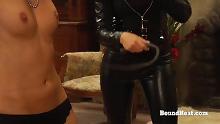 Lesbo Slaves In Bondage Whipped With an increment of Groped By Steely Madame
