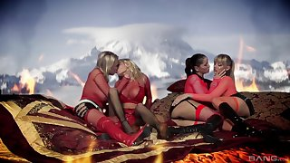 Wild outdoors lesbian sex between Michelle Thorne and 3 sluts
