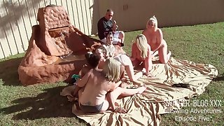 Scalding babes seal the doom increased by screwing toys in outdoor lesbian orgy