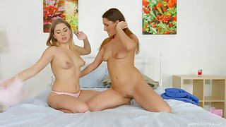 Erotic lesbian pussy licking between Ellen Betsy with the addition of Julia Red