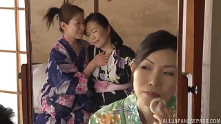 Lesbo babes from Japan enjoy kissing and scissoring on slay rub elbows with bed