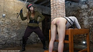 Military Discriminative Caning Chastisement - Lesbian Porn