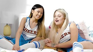 GirlsWay: Smart Asian teen Lulu Chu plus the cheerleader captain Harmony Rivers having sex on PornHD