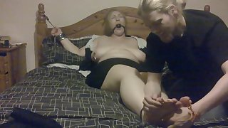 Elle Moon Secretary Tickle Torture Tied to Bed