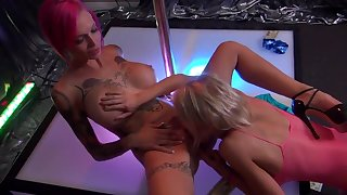 Lesbian strippers nudity and oral at the club