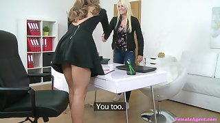 Lesbian Lucy Shine and one more piece of baggage use a dildo not far from the office