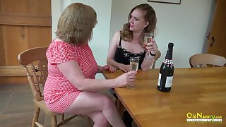 Twosome sweltering mature lesbians slowly stripping and playing with their elephantine boobs