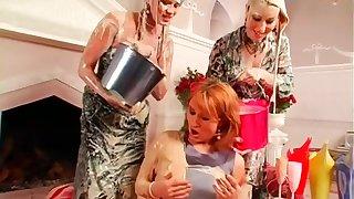 Lesbians Covered in Milkshake