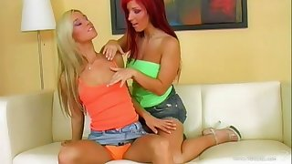 Captivating lesbian hooker moans while getting her shaved pussy jammed with a glass toy in a lawcourt shoot