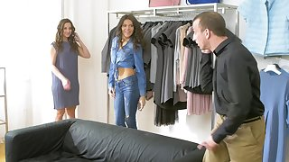 Horny lesbians Amirah Adara and Verona Sky impersonate in the public place