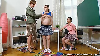 One slender coeds find out how naughty their professor is
