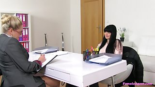 Lesbian love company during a job interview with Barra and Lucy Li