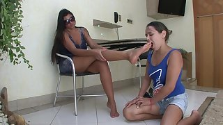 Dominant tall lezdom in hot dress gets her Latina feet destroyed out unconnected with her female slave