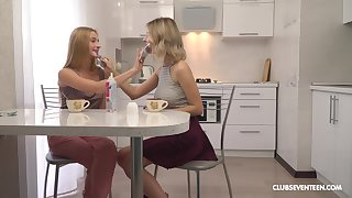 Vibrant lesbian sex there blondes Elizabeth Evans and Tiny Teen