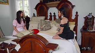 Lesbian sex denouement housemaids Emily Willis with an increment of Tru Kait on the bed