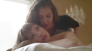Elena Koshka and Ivy Wolfe can not stop making love with continually other, in a kneading room